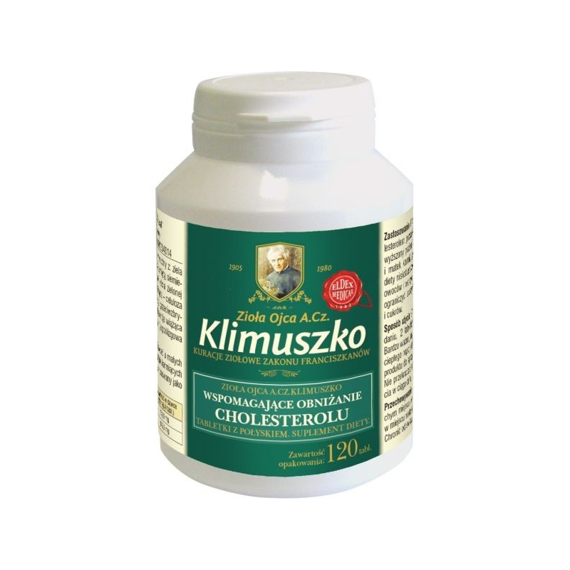 Tabletki wspierające prawidłowy poziom cholesterolu 120 tab. 30dni Zioła Ojca Klimuszko